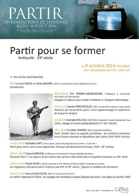 RDVH Blois 2016 - Partir pour se former