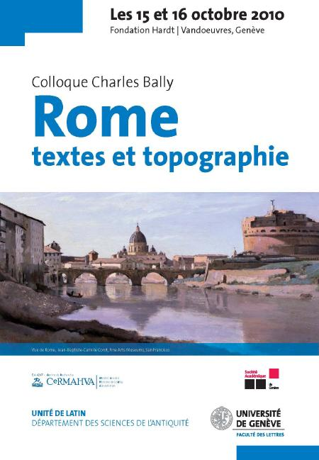 """affiche colloque """" Rome textes et topographie"""""""