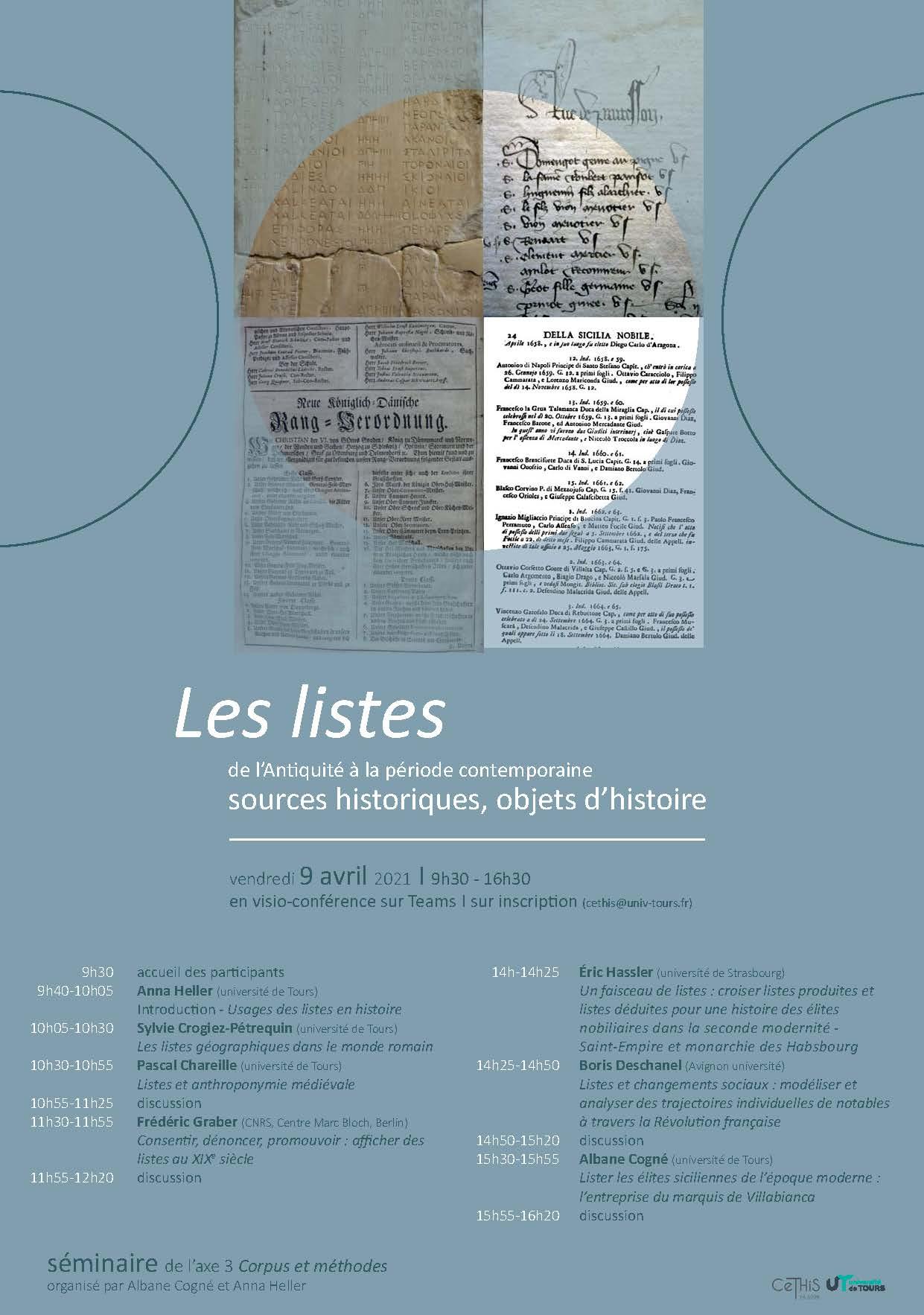Les listes, objets d'histoire