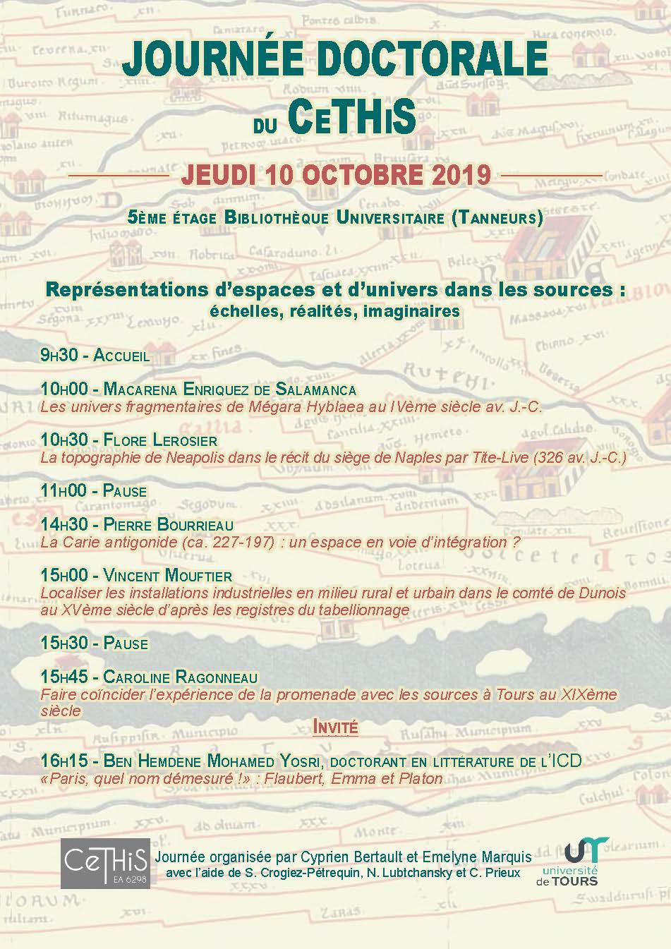affiche Journée des doctorants du CeTHiS 2019